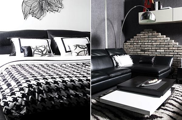 现代简约风格客厅沙发黑白色